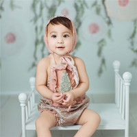 Studio Children Photography Costume Court Princess Style Rompers Hat Set Clothes for 2 Years Girl Clothing for Baby Photo Shoots