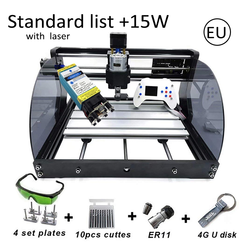 15W CNC3018 Pro Max Engraving Machine With Offline Control ER11 500mw 2500mw 5500mw Head Wood Router PCB Milling Carving Machine