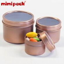 24 paket kullanımlık yuvarlak Metal gıda saklama kapları mimipack teneke kutu teneke kutu teneke kutular için şeffaf kapaklı hediyeler