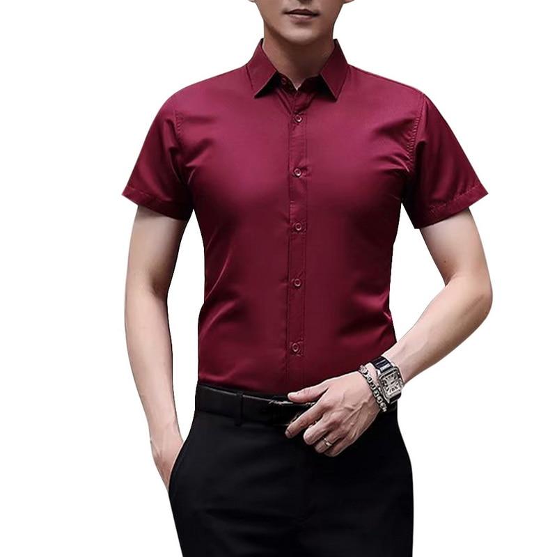 Adisputent 2020 Summer New Men's Slim Fit Shirt Short Sleeve Casual Solid Color Business Social Office Tops Men Fashion Shirt