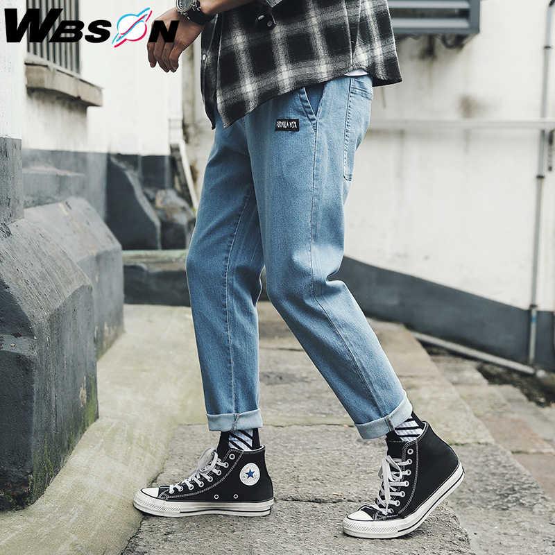 Wbson 2020 nowych moda cztery pory roku luźne jeansy mężczyźni Casual sprane dżinsy dżinsy męskie proste obcisłe dżinsy SYG2310