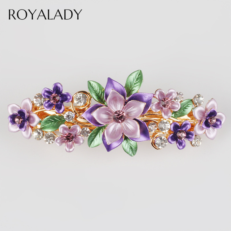 Beautiful Handmade Flower Hair Clip Barrettes Fashion Crystal Hairpin Women Wedding Hair Accessories Violet Flower Hair Jewelry
