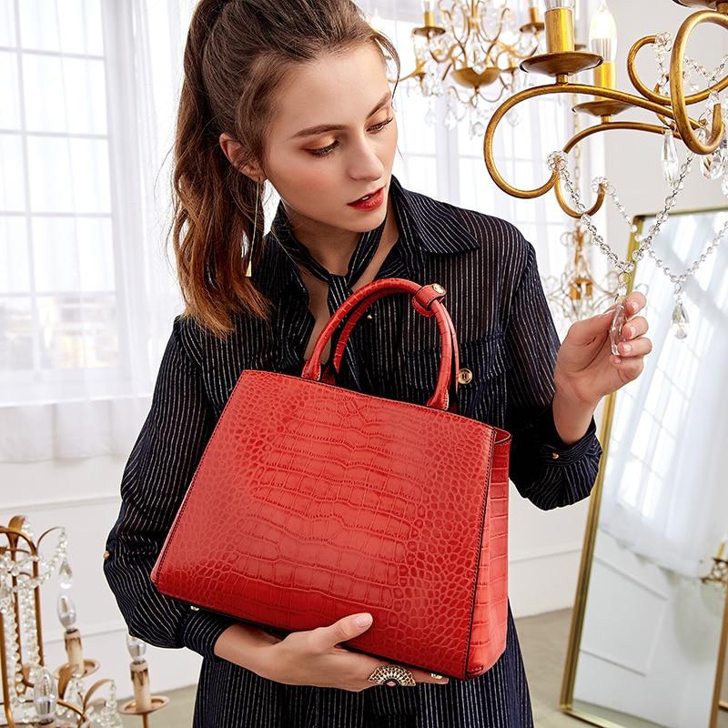 Qiwang Classical Leather Women Handbag Brand Designer Tote Bag Brand Bags Crocodile Pattern Evening Package Female