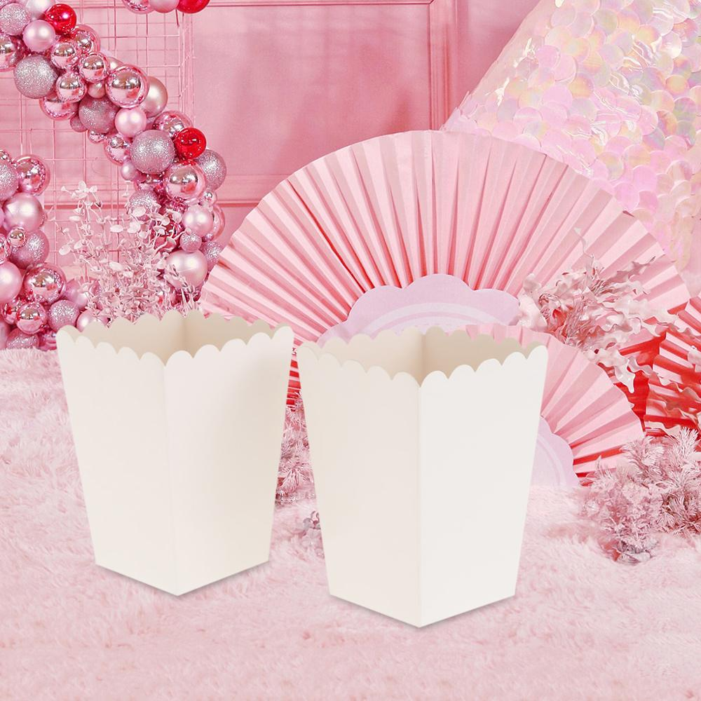 12 Pieces Pure White Popcorn Boxes Container Birthday Movie Party Favors Treat Bags Wedding Bridal Favor Guests Gifts Box