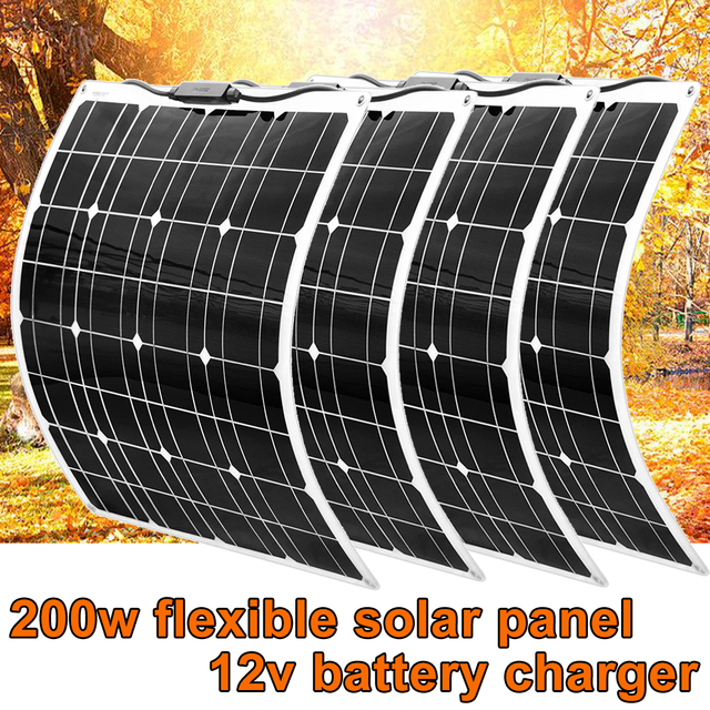 Flexible Solar panel 200w 100w 50w 12v Solar Charger Home System for Car RV Boat Caravan 1000w PV Module 540*530*3mm Waterproof
