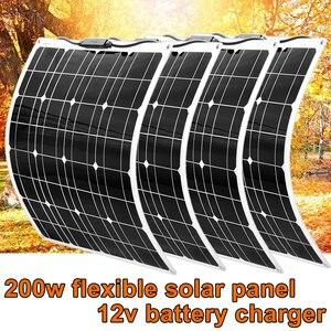 Image 1 - Panneau solaire Flexible 200w 100w 50w 12v chargeur solaire système à la maison pour voiture RV bateau caravane 1000w PV Module 540*530*3mm étanche