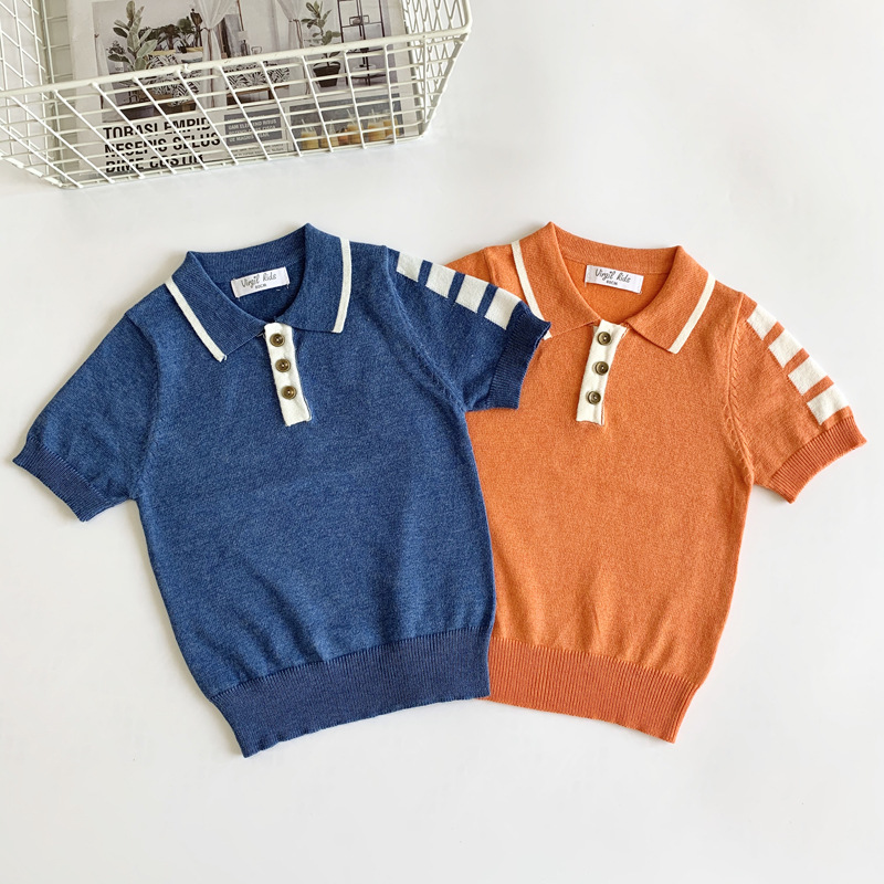 1-6Y Casual Fashion Spring Summer Sweater Toddler Baby Boys Cotton Short Sleeve Turn Down Collar Pullover Striped Knit T-Shirts