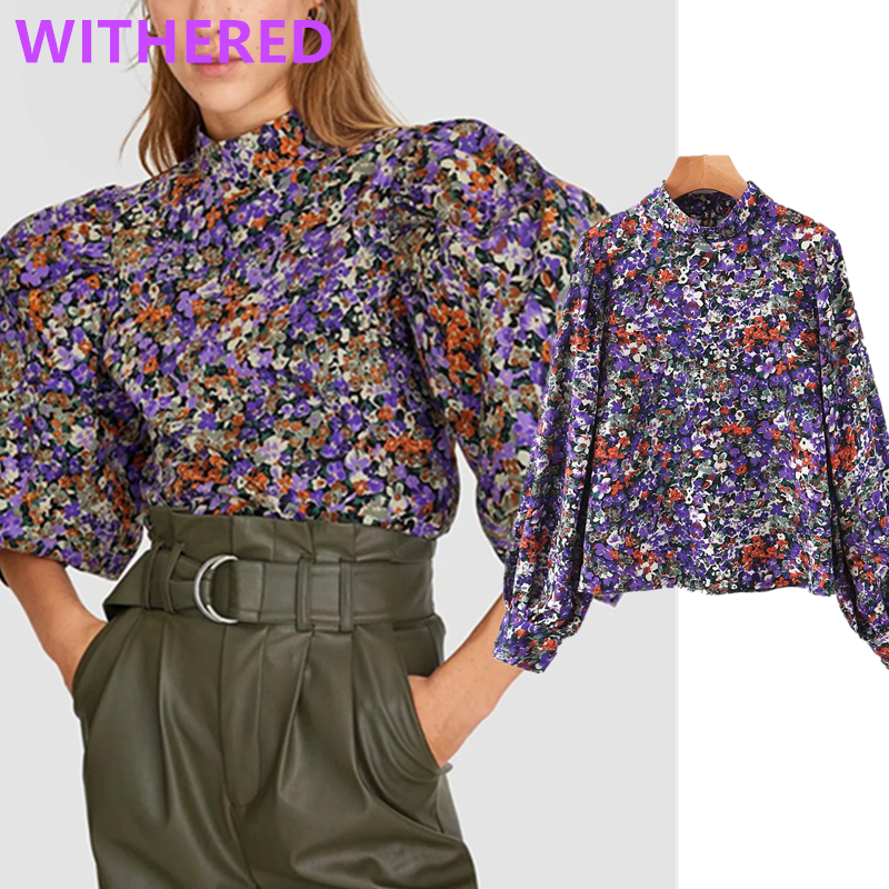 Withered England Vintage Floral Printing Puff Sleeve Blouse Women Blusas Mujer De Moda 2020 Kimono Shirt Womens Tops And Blouse