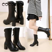 2019 New Arrival Coco & Tao Pu Ankle Zip Basic Round Toe High (5cm-8cm) Square Heel Winter Solid Rubber Short Plush Fits T