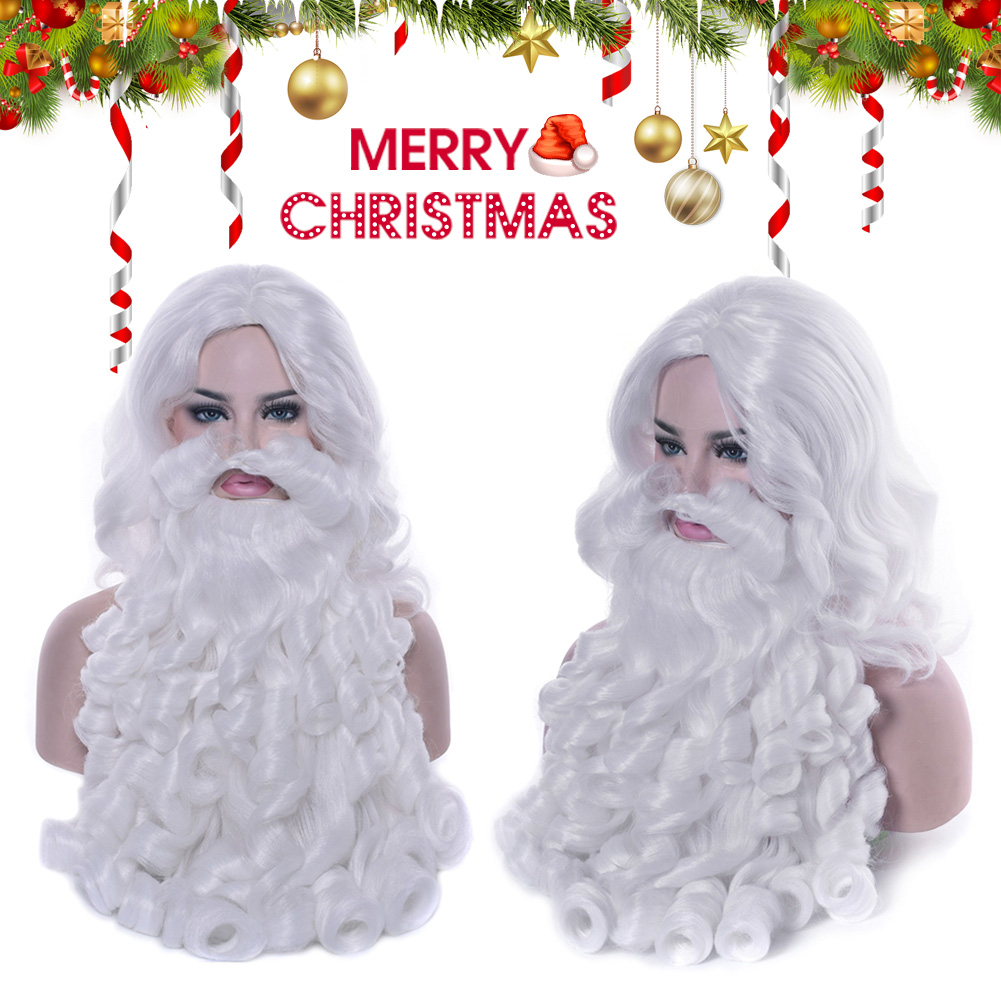 Santa Claus Wig Beard Long White Fancy Dress Costume Accessory For Christmas Party TN99