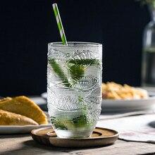 Винтажная прозрачная стеклянная чашка элегантный из стекла барокко чашки Европейский ретро гравированное стекло пиво, сок бокал для вина подарок 2 размера