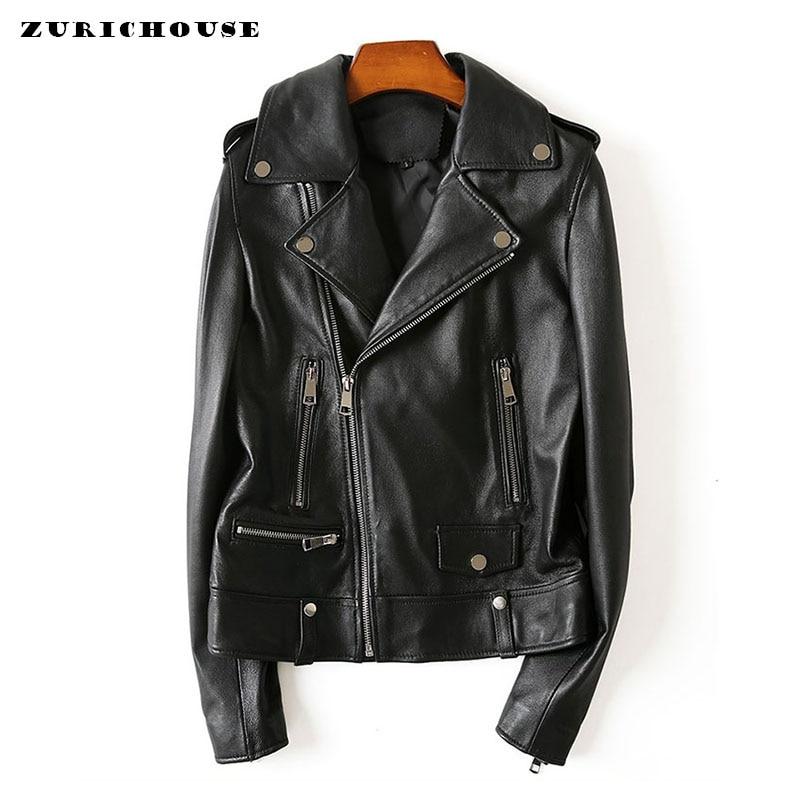 ZURICHOUSE Genuine Leather Jacket Women Plus Size 3XL Short Fashion 2020 Top Quality Motorcycle Biker Natural Sheepskin Coat