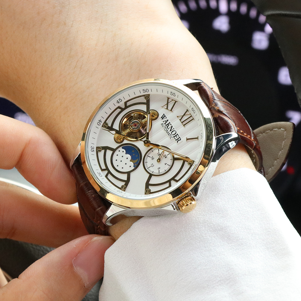 H3166f92bfc2f46ddb5252a2c031734d5k WAKNOER Automatic Mechanical Watch Men Stainless Waterproof Moon Phase Luminous Luxury Gold  Business Tourbillon Montre Homme
