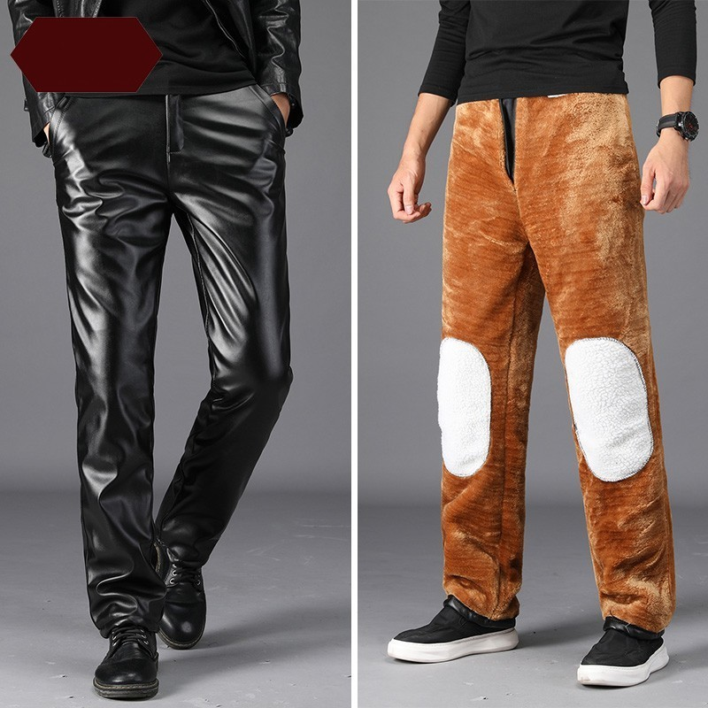 Mens Winter Fleece Lining Pu Leather Pants Windproof Straight Loose Fit Motorcycle Long Trousers Plus Size Faux Leather Pants