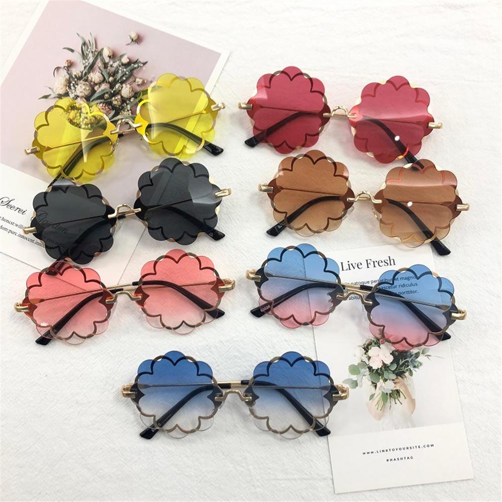 Fashion Kids Rimless Sunglasses Flower Frame Girls Sun Glasses Glasses Children Outdoor Goggles Cute Style Party Eyewear