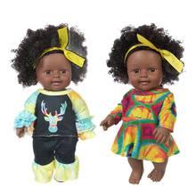 Poupée africaine en peau noire 12 pouces, colle douce pour cheveux, silicone, réaliste, poupée noire