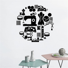 Sewing Tools Vinyl Wall Stickers Tailor Shop Decoration Scissors Clothes Stand Decal Window Murals