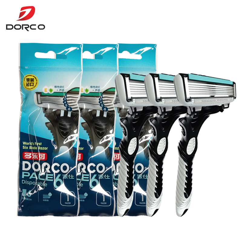 New Good Quality Dorco Razor Men 3 Pcs/lot 6-Layer Blades Razor For Men Shaving Stainless Steel Safety Razor Blades