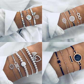 Boho Geometric Bracelet & Bangle Sets For Women Vintage Star Map Hand Heart charm Beads Chains Fashion Jewelry Accessories chic heart geometric bracelet for women
