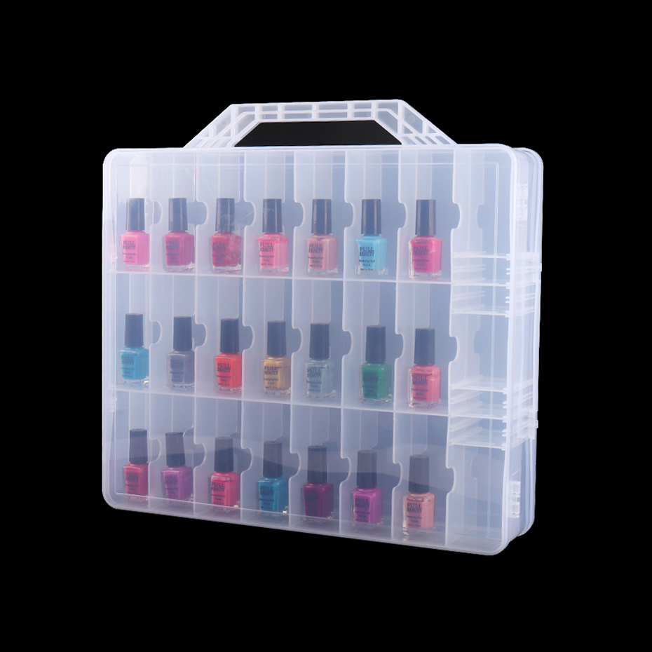 48 Slots Clear Empty Storage Box Portable Double Sides Containers Case UV Gel Polish Display Organizer Manicure Tools TR1592