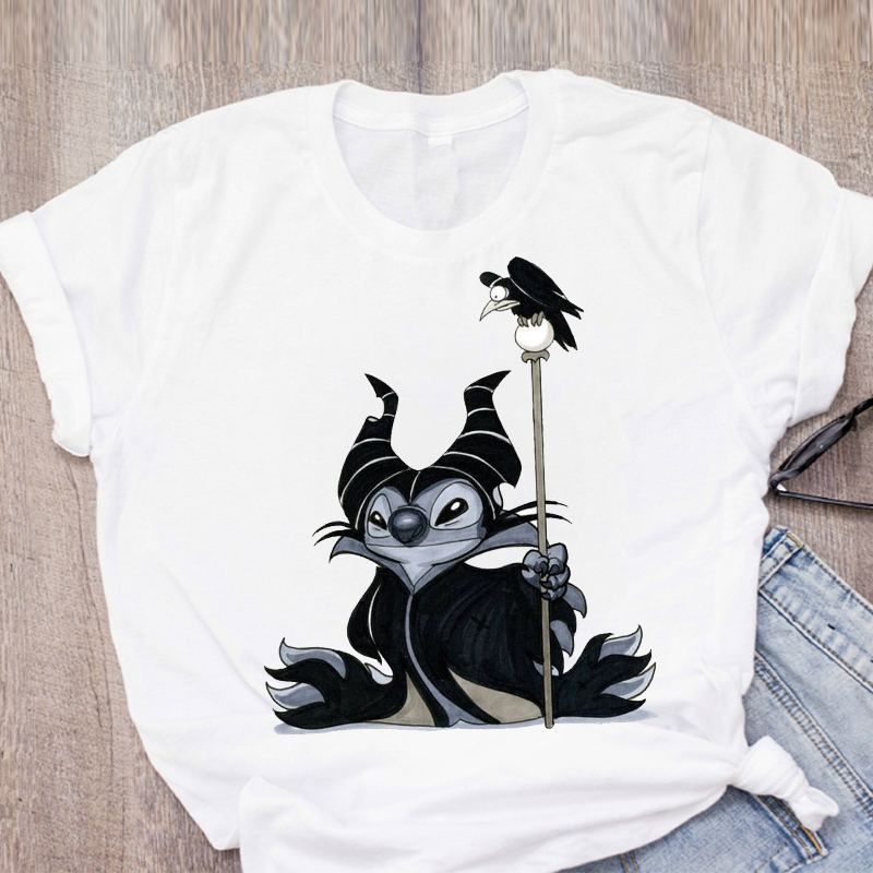 Women Cartoon Stitch Printed Short Sleeve Evil Queen Womens Summer Lady Clothing Tops T-Shirt Shirt Tee Female T Shirt Tees