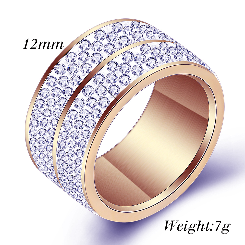 Wholesale  6 Row Crystal Jewelry Wedding Ring For Women High Quality Classic Stainless Steel Accessories Rings Party Jewelry 3