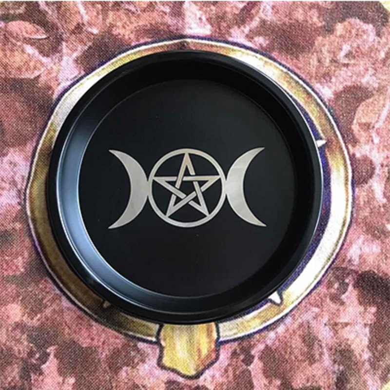 Astrology Pentagram Candlestick Table Altar Plate Triquetra Divination Wicca  Ceremony Accessories