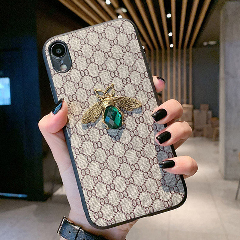 <font><b>Luxury</b></font> 3D Bee Retro Cloth Phone <font><b>Case</b></font> for <font><b>IPhone</b></font> 11 Pro <font><b>Case</b></font> X XR XS XS Max 7 8 6s 6 Plus Diamond Fabric Embroidery Leather Cover image