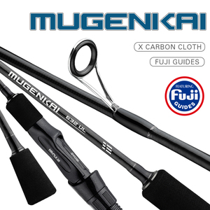 Image 1 - 2019 NEW MUGENKAI Spinning fishing rod UL lure rod Carbon Fiber Fishing Rod Fuji Guides 0.8 5g Lure Weight 1.77M 2.07M Length