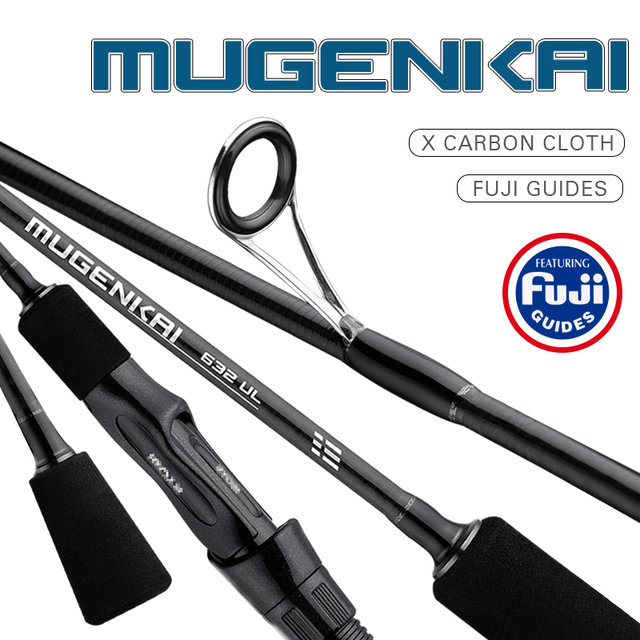 2019 NEW MUGENKAI Spinning fishing rod UL lure rod Carbon Fiber Fishing Rod Fuji Guides 0.8 5g Lure Weight 1.77M 2.07M Length