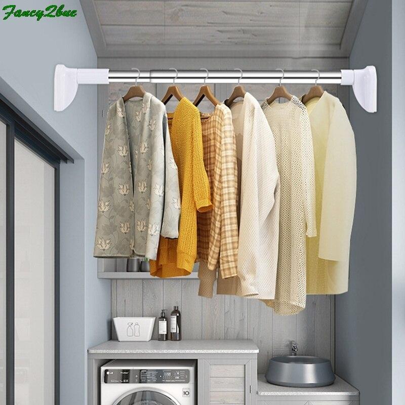 Extendable Telescopic Curtain Rod Rail Wardrobe Closet Clothes Towel Hanging Pole Bathroom Shower Clothes Hanger Towel Bar