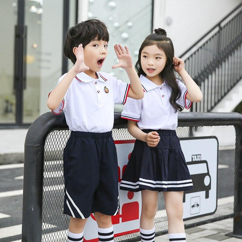 [Ann Fruit] Young STUDENT'S School Uniform New Style T-shirt Suit British Style Kindergarten Suit Summer Wear