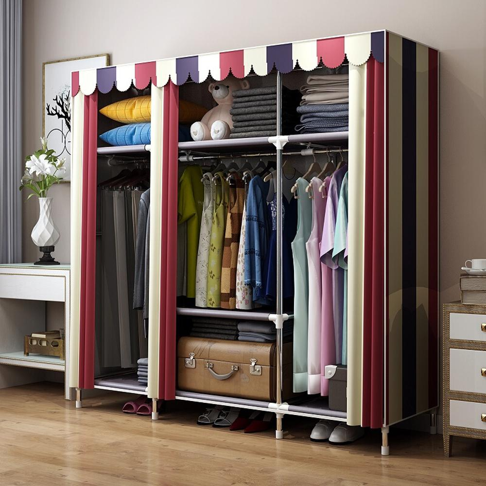 Bold Portable Stainless steel Clothes font b Closet b font Reinforced Folding Wardrobe Armoire Huge Home