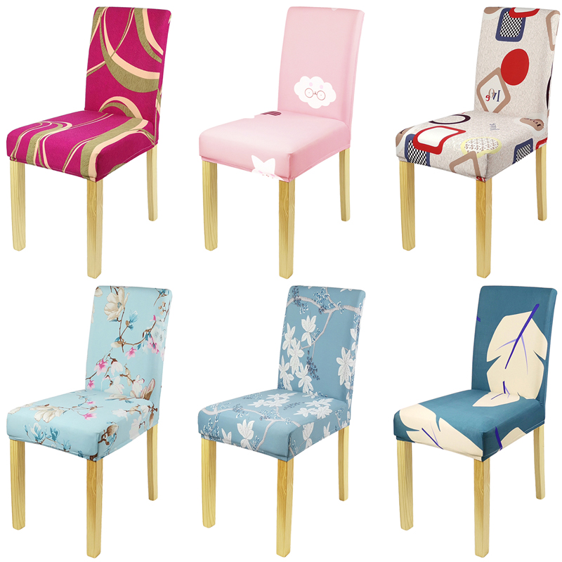 Chair Covers Dining Chair Covers Spandex Stretch Elastic Cover Kitchen Removable Universal Printed Chair Cover Wedding Banquet