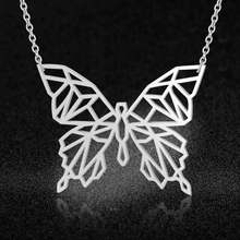 100% Real Stainless Steel 40-85cm Butterfly Long Necklace Trend Jewelry Necklaces Unique Animal Jewelry Necklace Special Gift(China)