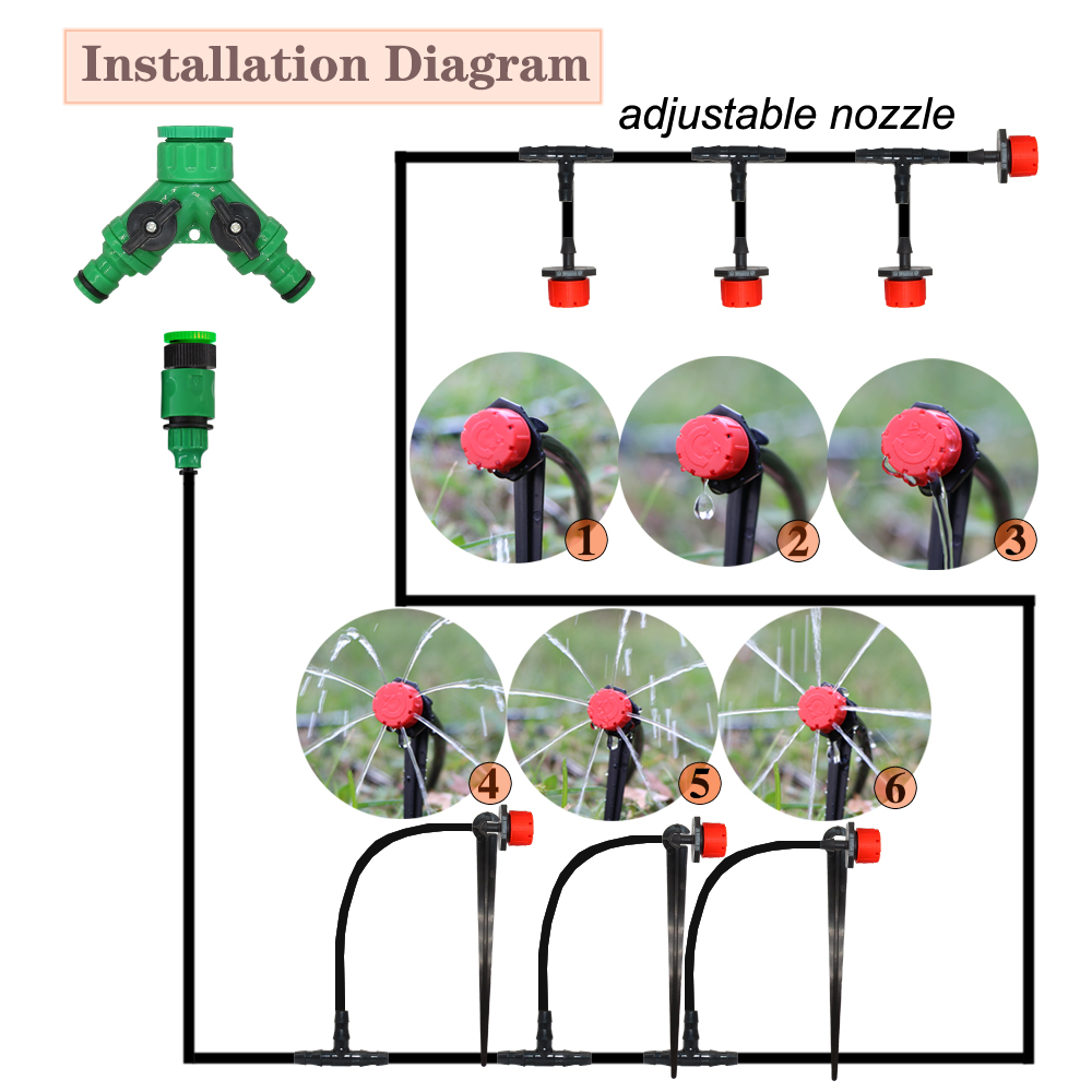 MUCIAKIE 50M-5M DIY Drip Irrigation System Automatic Watering Garden Hose Micro Drip Watering Kits with Adjustable Drippers 2