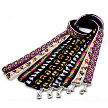 PAdjustable Dog Collar Halloween Pattern Printing Pet Leash Nylon Durable Leather Harnesses for Accessories PCMMA