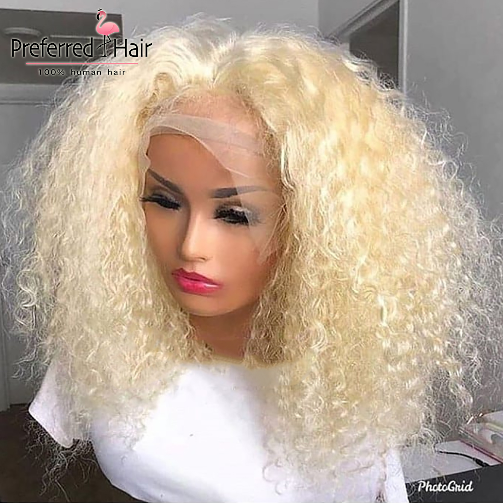 Preferred Curly Frontal Wig 13x4 Lace Front Human Hair Wigs Malaysian Curly Wig Pre Plucked Hairline Remy Hair Wigs Blonde Wig