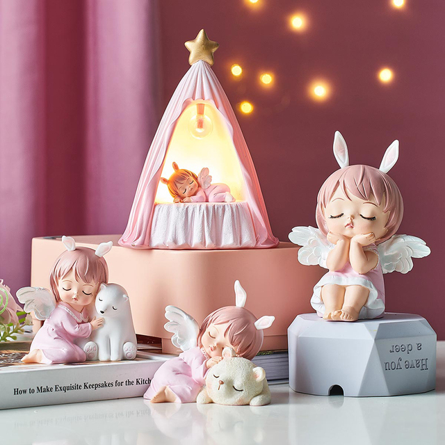 Cute Angel Baby Figurines Fairy Garden Miniatures Resin Ornaments Creative Home Decoration Accessories Birthday Gift  Room Decor 1