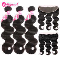 Peruvian Body Wave Human Hair 3 Bundles With 13x4 Lace Frontal Pre Plucked Ear to Ear Lace Frontal With Bundles AliPearl Hair