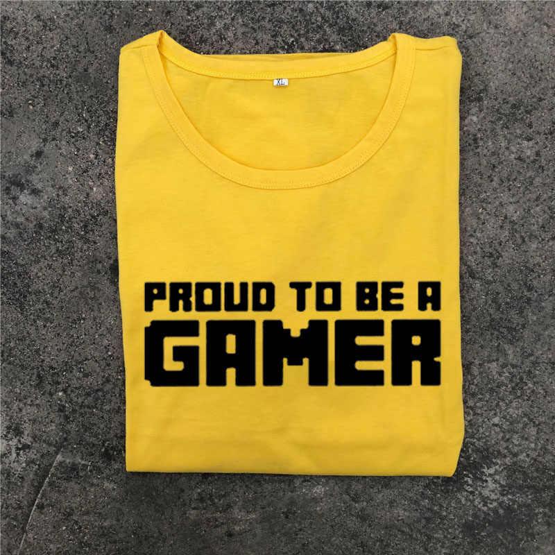 Dumny być Gamer Slogan moda Gamer Tshirt Harajuku Punk gotycki styl czarny biały T koszula kobiety lato topy zespół ubrania
