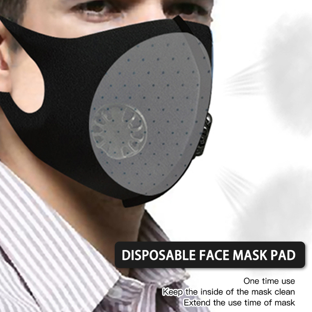 Black anti-flu Anti-Dust allergy Mask PM2.5 Breathing Filter Valve Face Mouth Masks Reusable Mouth Cover Anti Fog Haze Respirato 5