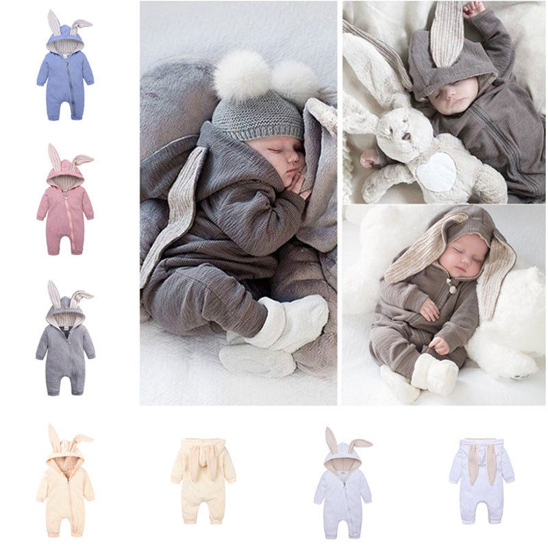 0-24M Tops Spring And Autumn Mother Baby Infant Jumpsuit With Big Ear Newborn Rompers Children Clothes Zipper Cute Kid Clothing