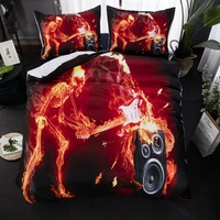 Skull Rock Sound Bedding Set Fire print Duvet Cover With Pillowcase Twin Queen King Size Bed Set 3pcs Bedclothes
