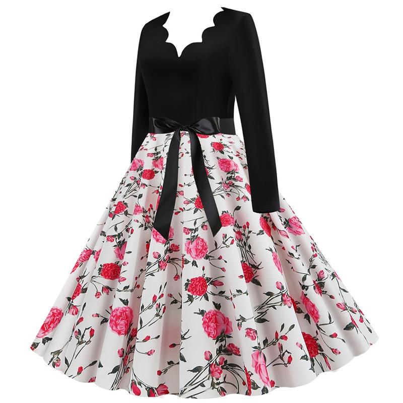 Women Long Sleeve Winter Vintage Dresses Sexy Black Music Note Print V-neck Rockabilly Pin up Party Dress Vestidos Plus size 632