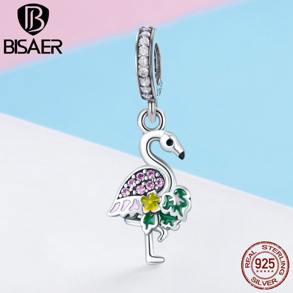 New Design Charms Colorful Noble Flamingo Dangle Charm Fit Bracelet & Necklace Sterling Silver Jewelry Joyas De Plata 925 HSC849