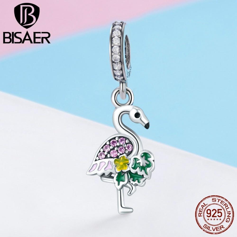 New Design Charms Colorful Noble Flamingo Dangle Charm Fit Bracelet & Necklace Sterling Silver Jewelry Joyas De Plata 925 HSC849