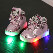 new children lighted casual shoes high rhinestone hello kitty shoes for girls baby kids shoes mesh travel shoes girls boots cheap Mesh (Air mesh) Rubber 2-3Y All seasons Fashion Boots Platform Flat with Synthetic Unisex ANKLE Hook Loop Round Toe Nude shoes