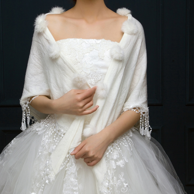 Bridal Wraps Shawls Winter Triangular Wedding Jackets Women Pompom Tassel Shrug