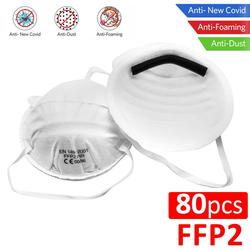 Máscaras faciales antipolvo de 80 Uds. FFP2, protección bucal no tejida 98% de filtración, protección bucal transpirable de seguridad, antibacterias como máscaras Kn95